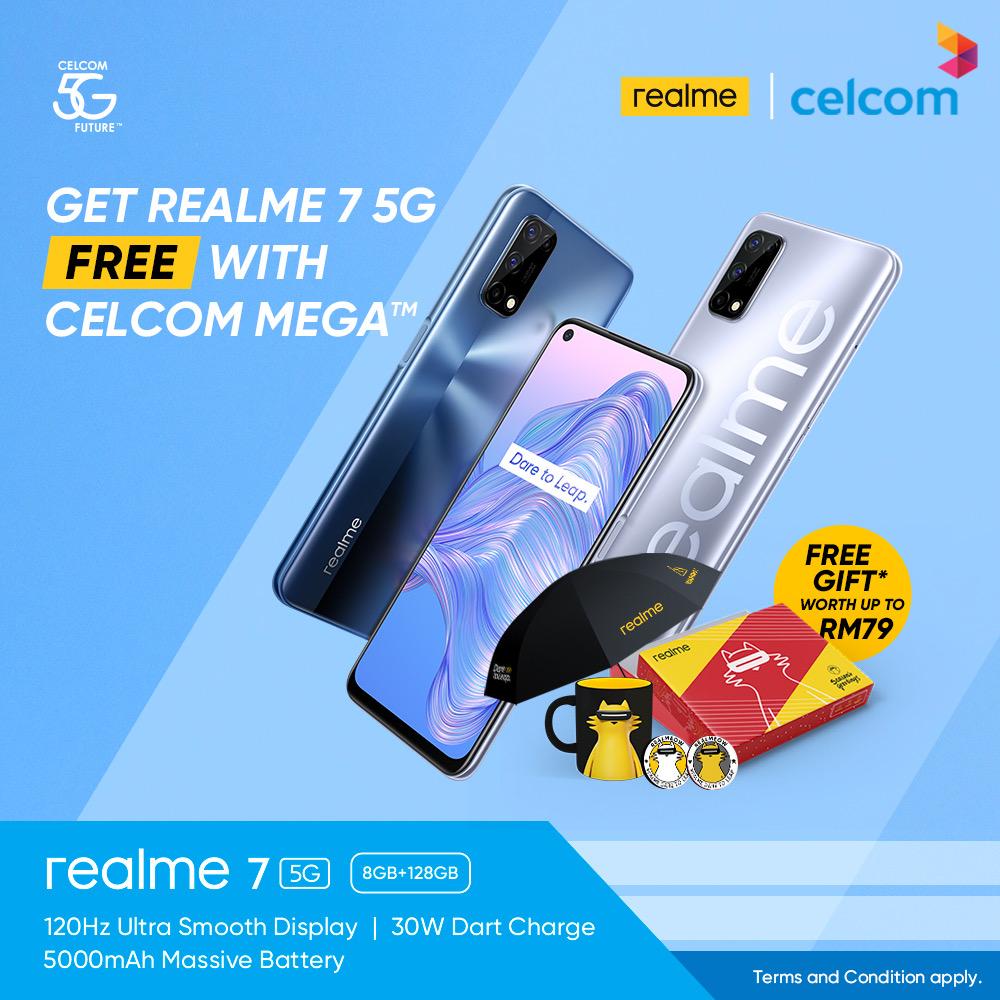 Dapatkan realme 7 5G secara percuma melalui pelan Celcom MEGA 6