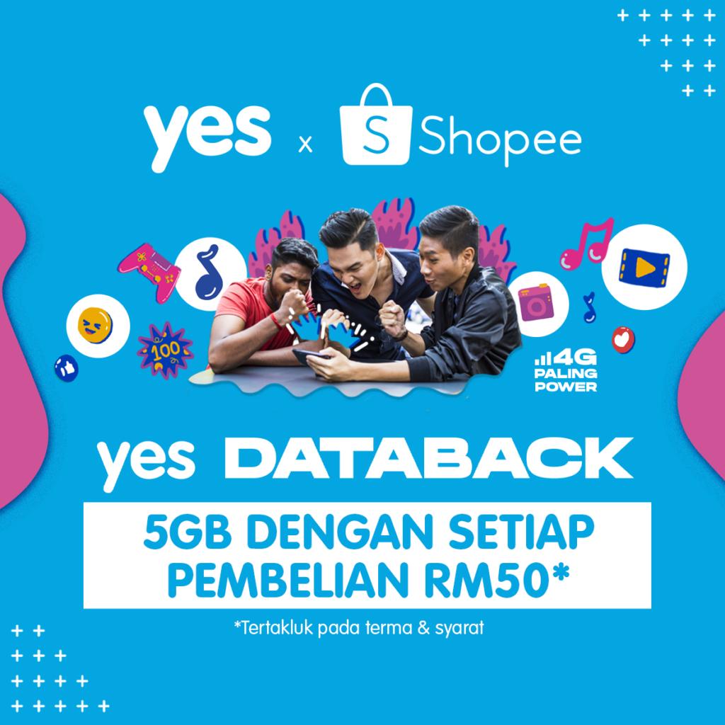 YES DATABACK - Sehingga 100GB Kuota Internet Percuma Dengan Pembelian di Shopee 6