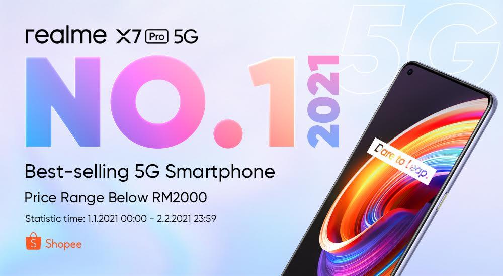 realme X7 Pro 5G - telefon pintar 5G bawah RM 2,000 terlaris di Shopee 5