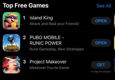 Permainan Video Island King merupakan permainan No.1 di Google Play Store dan Apple App Store hanya seminggu selepas pelancaran 20