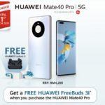 Promosi Percuma Huawei FreeBuds 3i dengan pembelian Mate40 Pro kini dilanjutkan sehingga 31 Mac