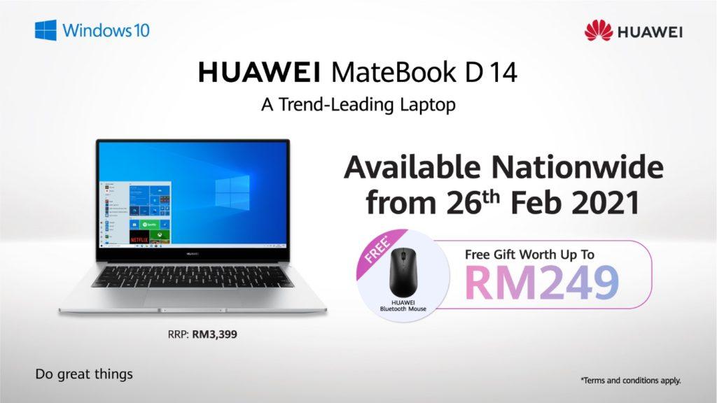 HUAWEI MateBook D 14 2020 Edisi Intel Akan ditawarkan di Malaysia mulai 26 Februari ini pada harga RM 3,399 3