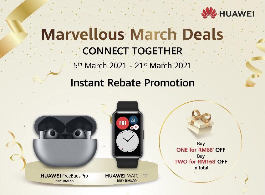 Huawei tawar rebat sehingga RM 168 bagi pembelian Watch Fit & FreeBuds Pro 5