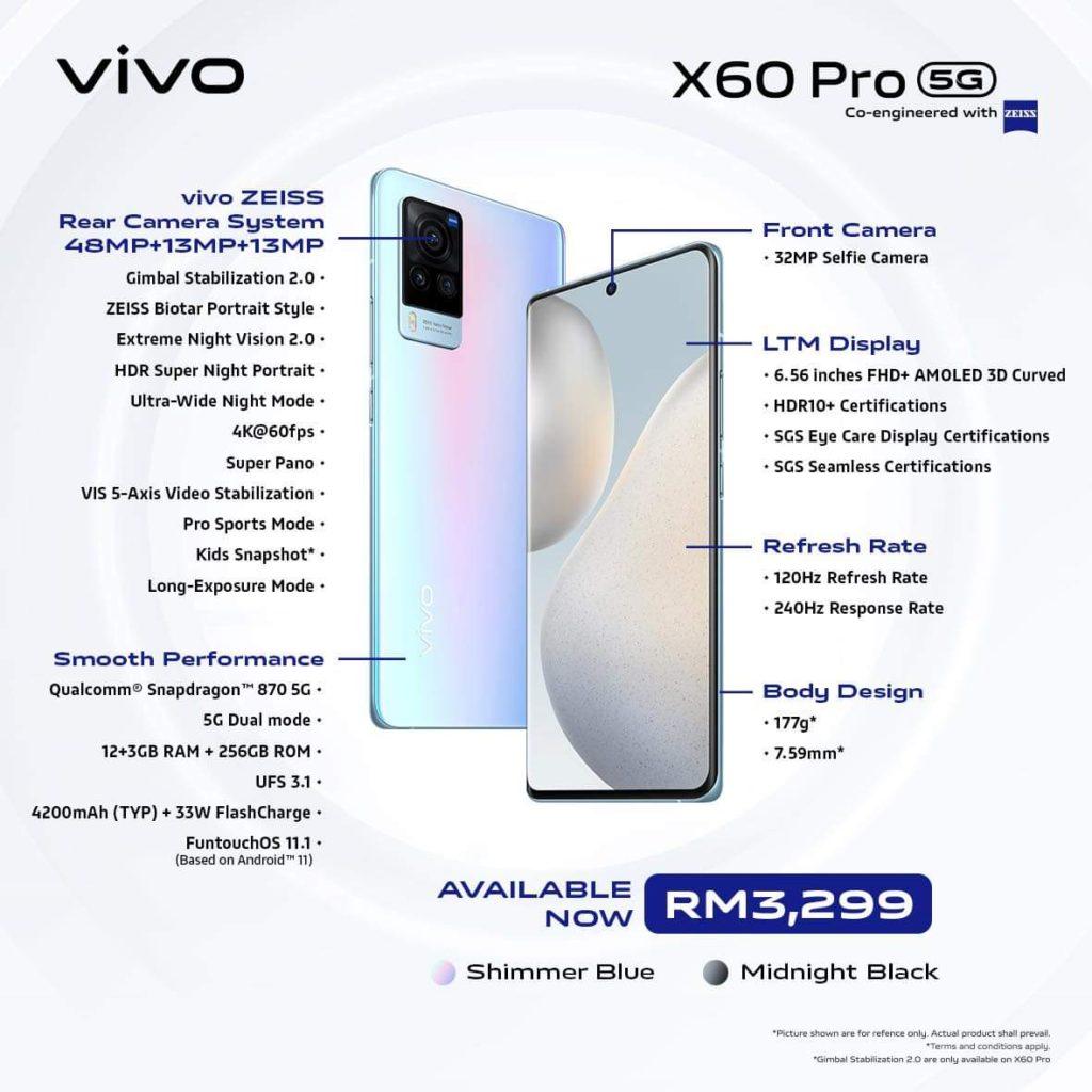 Vivo X60 Pro dan Vivo X60 kini rasmi di Malaysia dengan Snapdragon 870 dan 15GB RAM 20