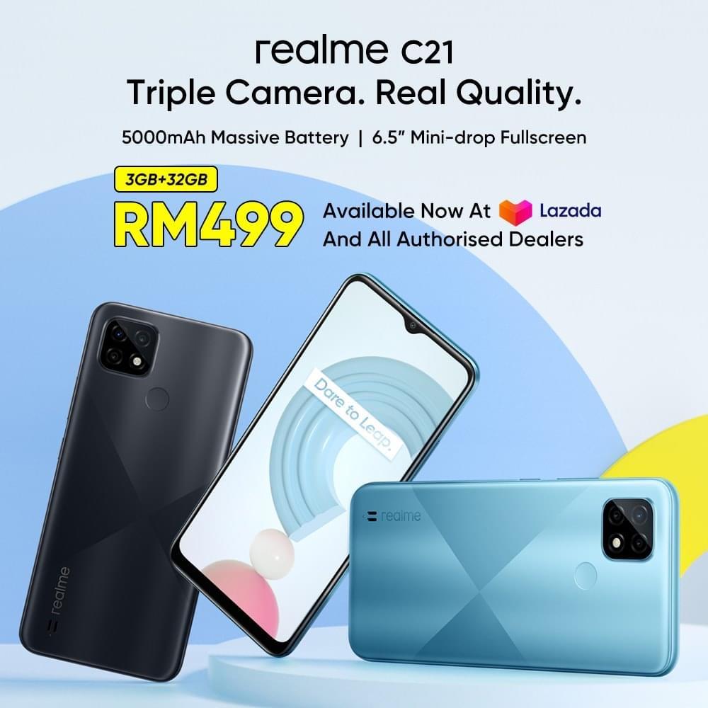 realme C21 kini di Malaysia pada harga RM 499 9