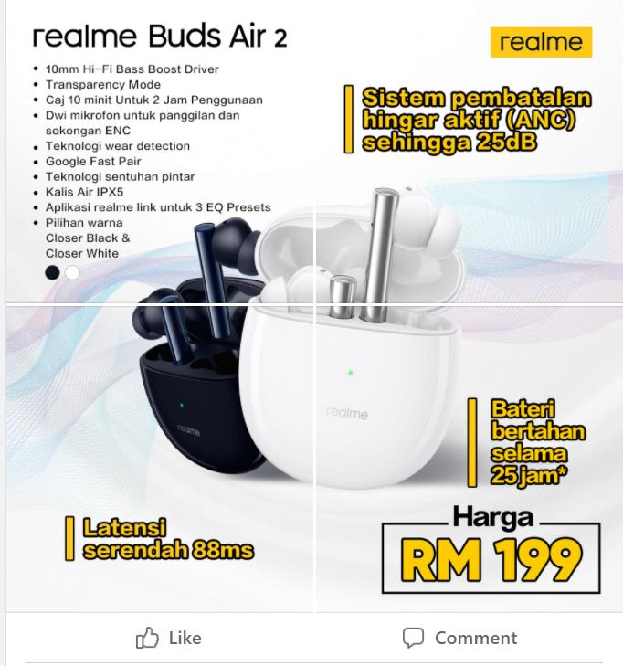 realme Buds Air 2 kini rasmi di Malaysia dengan ANC pada harga RM 199 sahaja 3