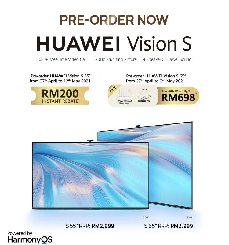 Televisyen HUAWEI Vision S kini di Malaysia didalam dua saiz pada harga dari RM 2,999 sahaja 13