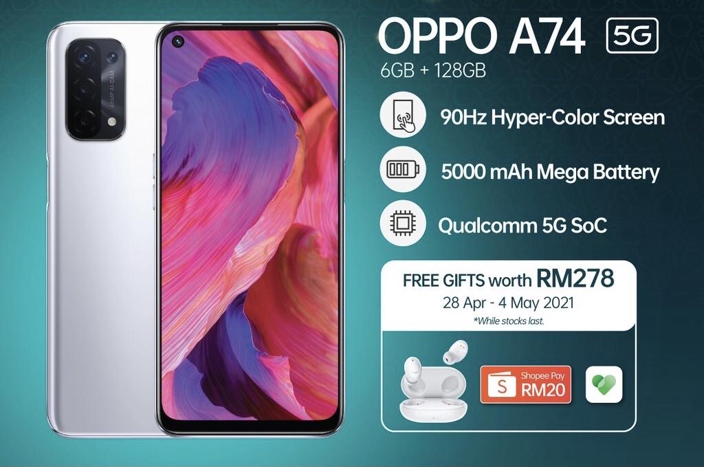 OPPO A74 5G kini rasmi di Malaysia - Eksklusif di Shopee Mulai 5 Mei ini Pada Harga RM 999 12