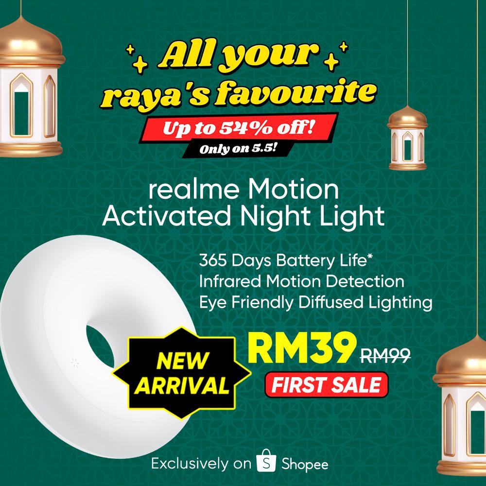 realme Buds Q2 dan Motion Activated Night Light akan ditawarkan mulai tengah malam ini di Shopee 6