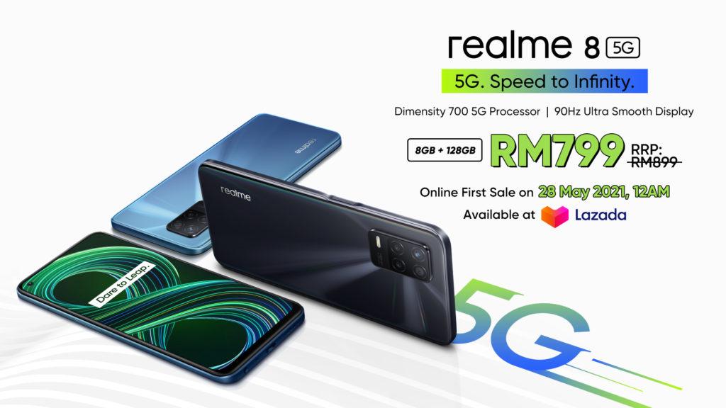 realme 8 5G - Telefon Pintar 5G Dengan Skrin Paparan 90Hz & Teknologi Inovatif Dynamic RAM Expansion Pada Harga Mesra Poket 33