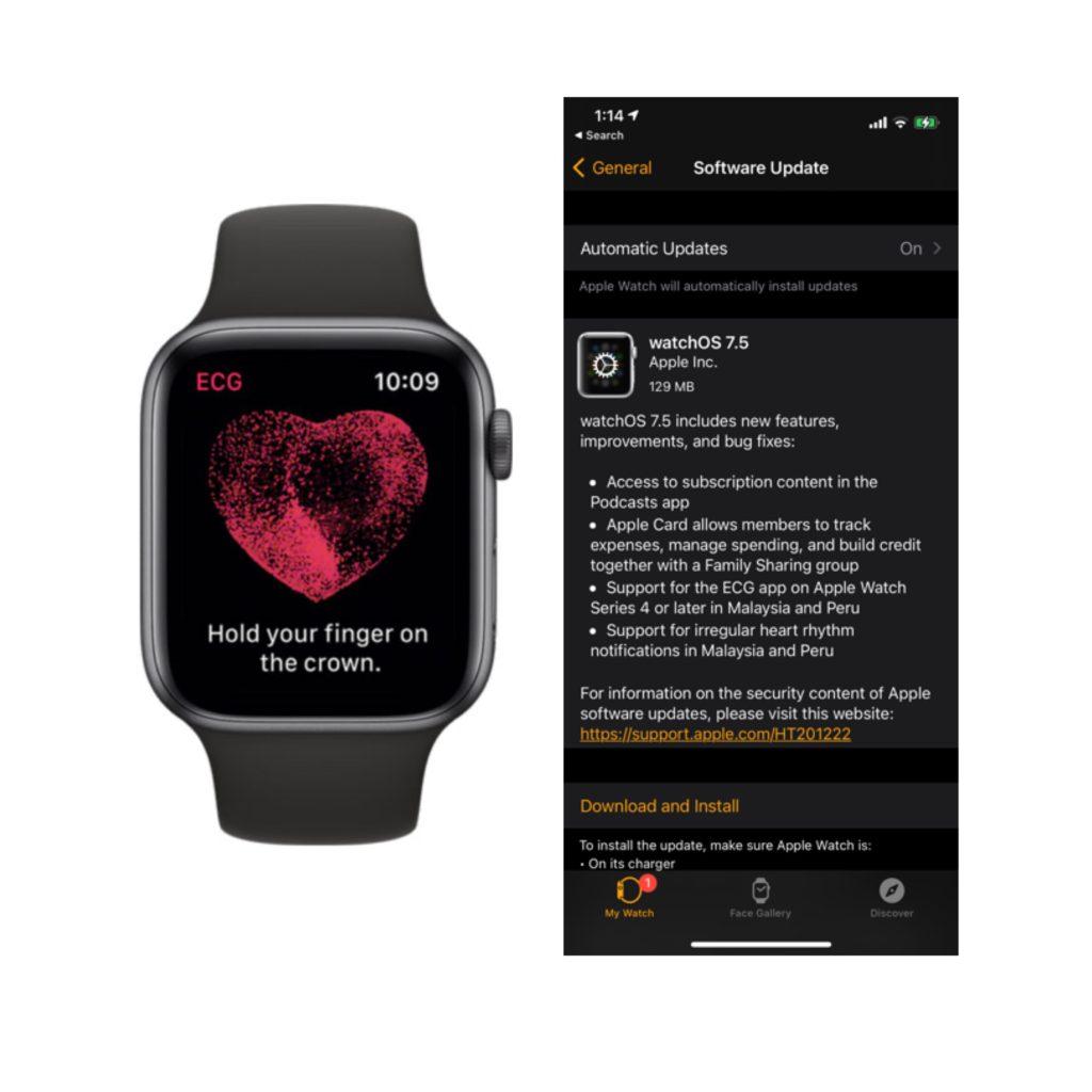 Pengguna Apple Watch di Malaysia bakal menerima sokongan bacaan ECG melalui kemaskini WatchOS 7.5 9
