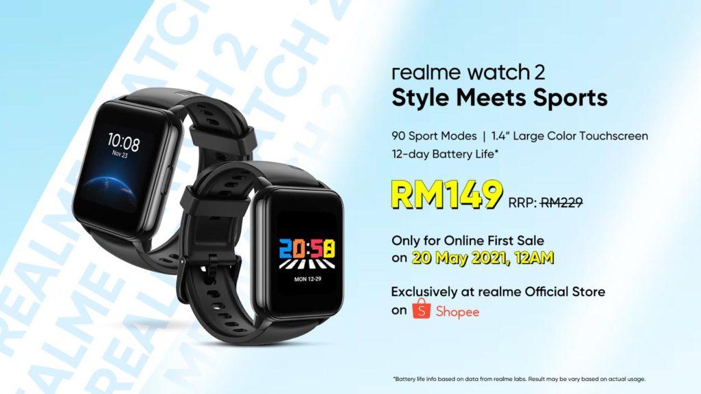 realme Watch 2 mula ditawarkan di Malaysia pada 20 Mei ini - harga promosi RM 149 di Shopee 5