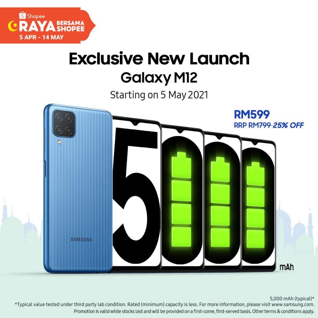 Samsung Galaxy M12 akan ditawarkan di Malaysia mulai 5 Mei pada harga promosi RM 599 di Shopee 7