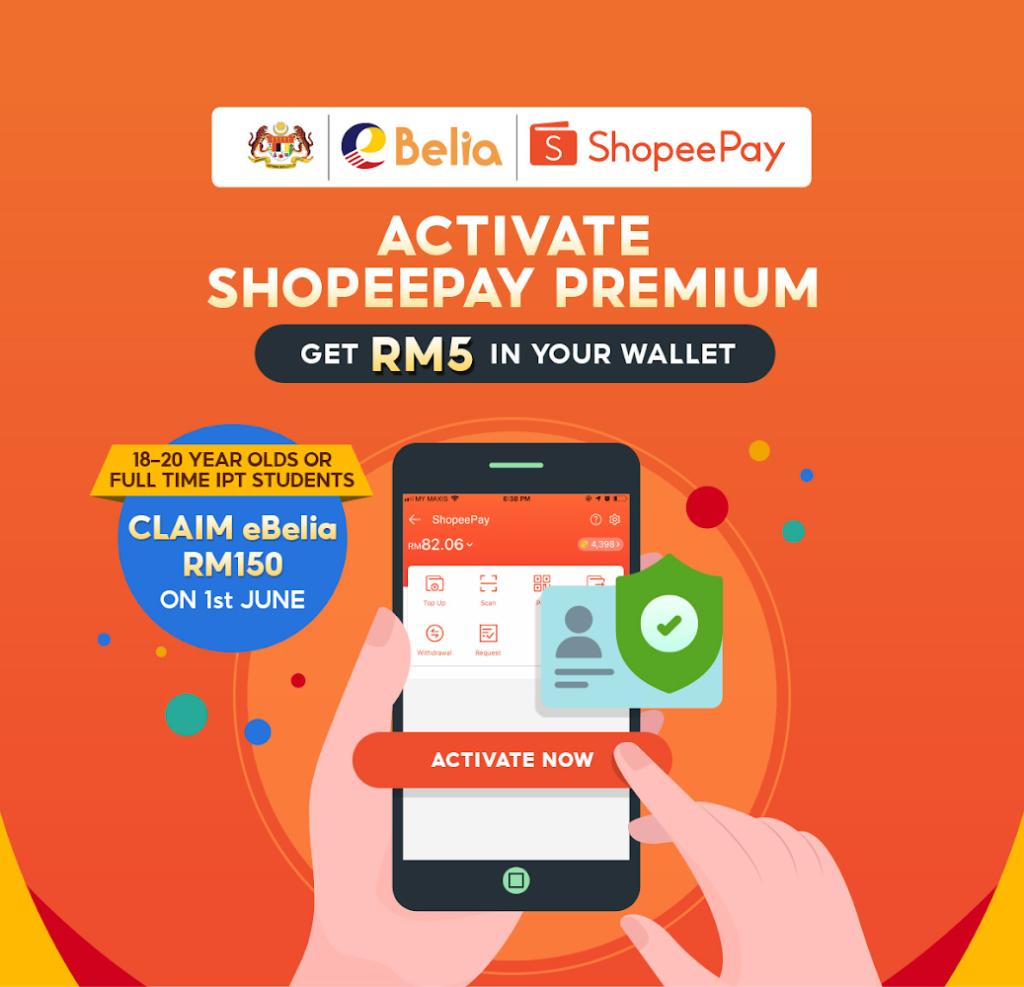 Aktifkan Akaun ShopeePay Premium dan terima bonus RM 5 - terbuka kepada yang berusia 18-20 tahun sahaja 3