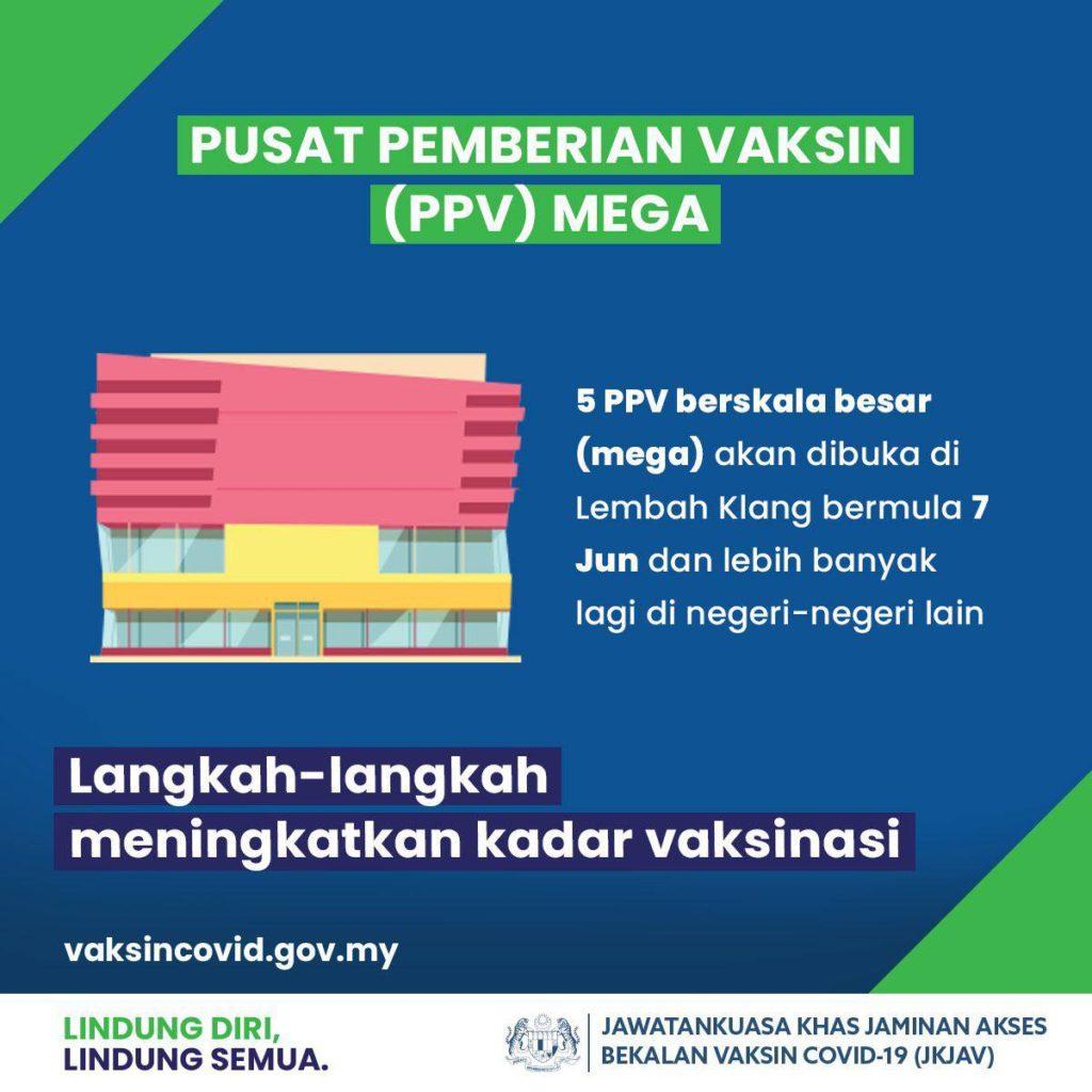 Kerajaan sasar lebih 300,000 dos vaksin sehari menjelang Julai 2021 dengan pembukaan PPV Mega dan Swasta 8