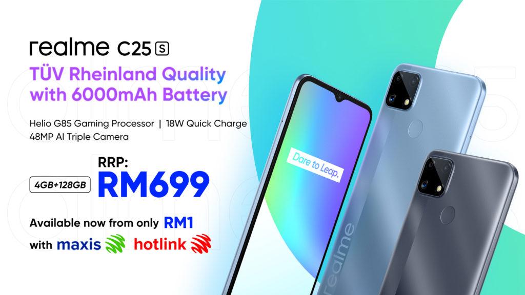 realme C25s kini ditawarkan pada harga RM 1 melalui pelan Maxis dan Hotlink 5