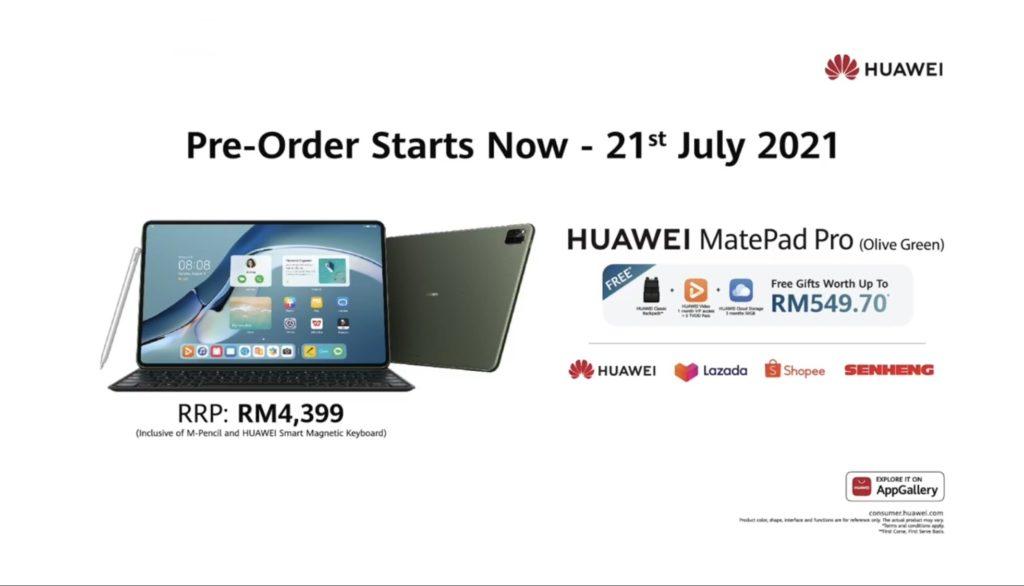 HUAWEI MatePad Pro 12.6 Olive Green kini ditawarkan pada harga RM 4,399 9