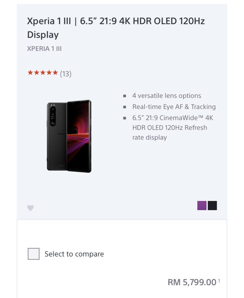 Sony Xperia 1 III akan ditawarkan di Malaysia pada harga RM 5,799 - Xperia 5 III pula RM 4,599 10