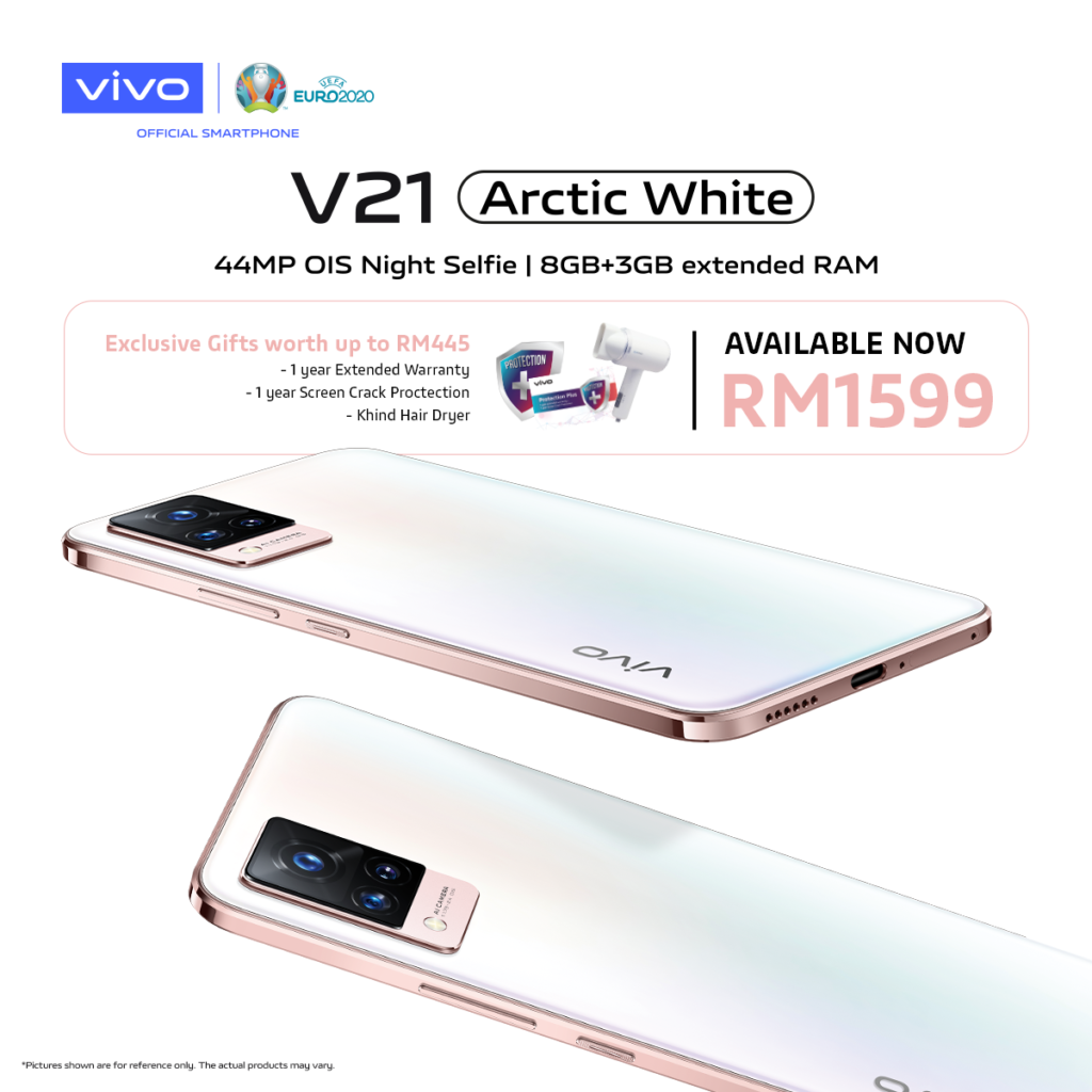 Vivo V21 Artic White kini ditawarkan pada harga RM 1,599 5