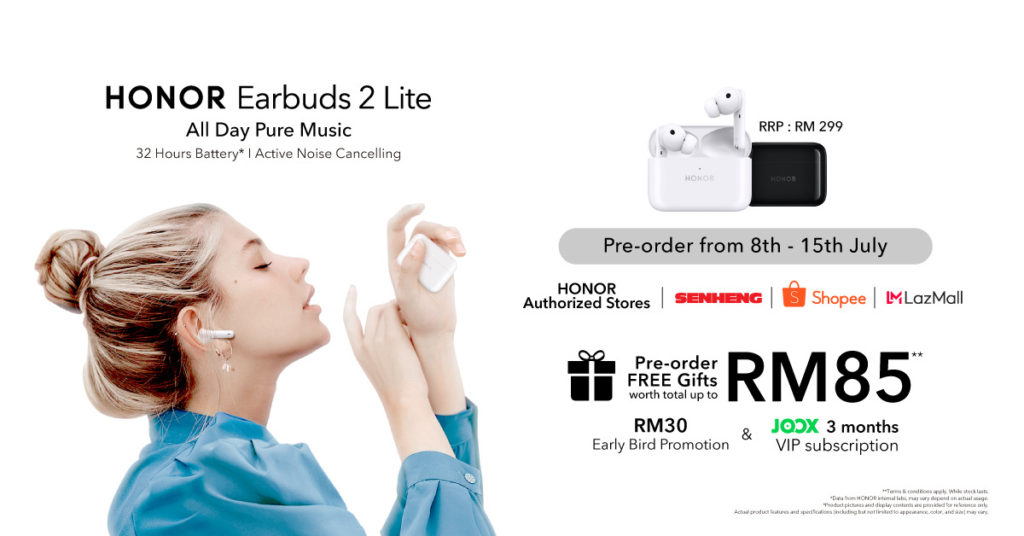 Honor Earbuds 2 Lite kini ditawarkan di Malaysia - pra-tempahan kini dibuka pada harga RM 269 7