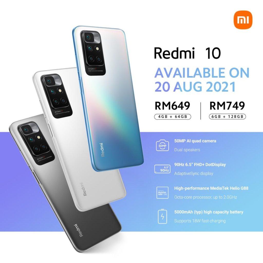 Xiaomi Redmi 10 kini rasmi di Malaysia - mula dijual 20 Ogos ini pada harga RM 649 3