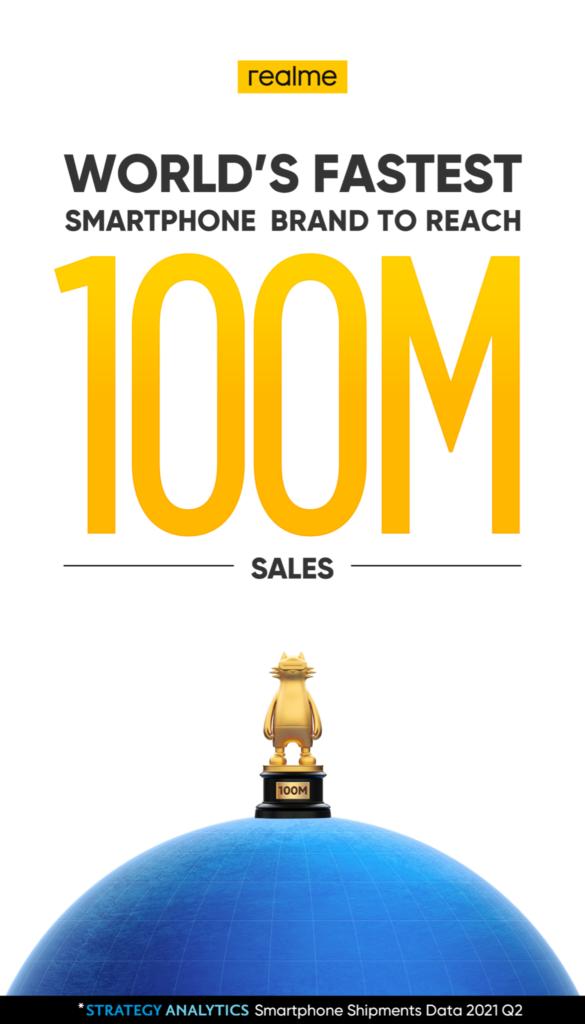 realme kini telah berjaya menjual 100 juta unit telefon pintar - syarikat terpantas untuk mencapai jumlah ini 5