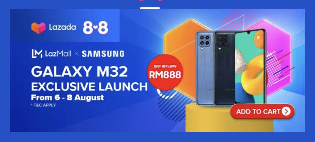 Samsung Galaxy M32 akan ditawarkan di Malaysia mulai 6 Ogos ini di Lazada pada harga promosi RM 888 sahaja 11
