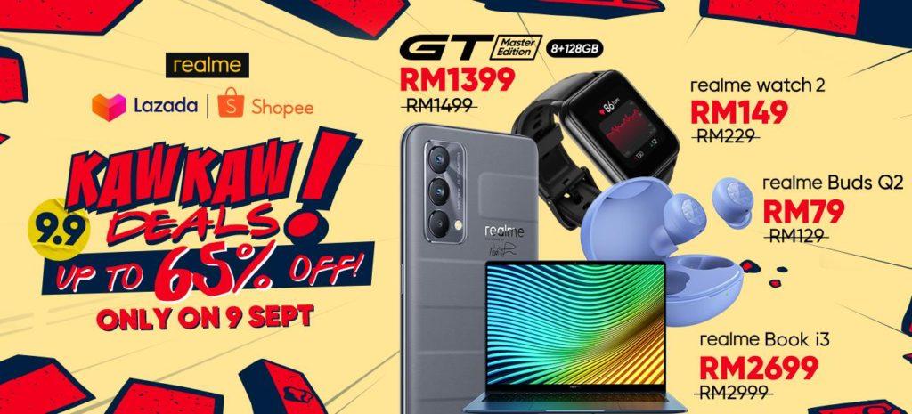 Dapatkan realme GT Master Edition pada harga RM 1,399 dan banyak lagi pada promosi realme 9.9 Kaw Kaw Deals 3