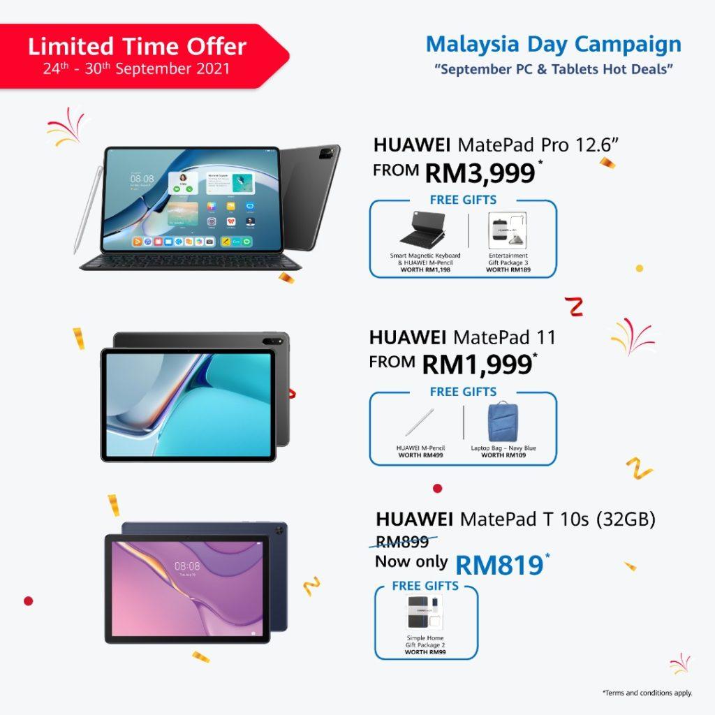 Jualan Hari Malaysia HUAWEI bakal berakhir hari ini - promosi menarik bagi MatePad Series dan MateBook Series 12