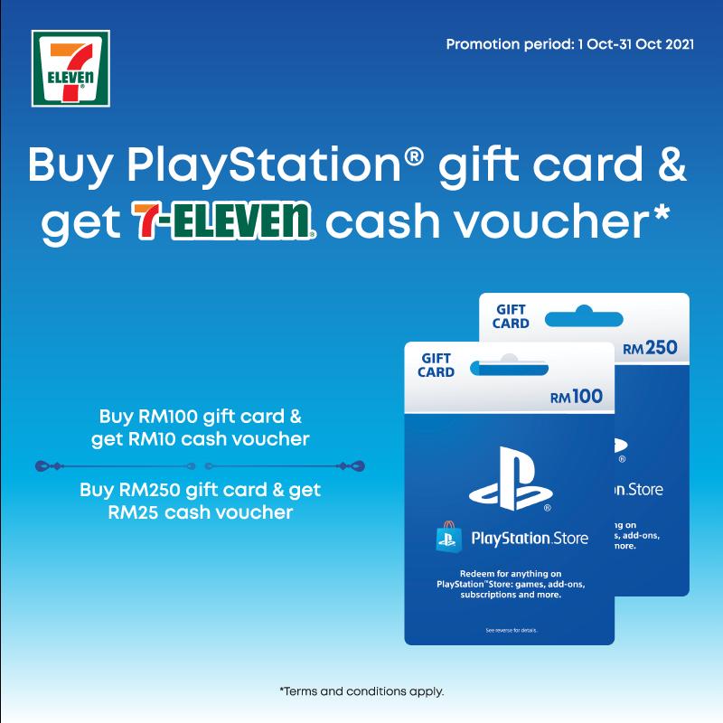 Dapatkan baucar tunai sehingga RM 25 dengan pembelian gift card PlayStation Store di stor 7-Eleven 3