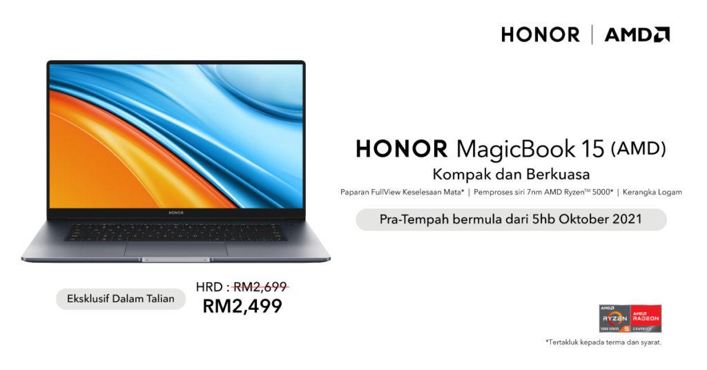Honor MagicBook 15 AMD kini boleh di pra-tempah pada harga RM 2,499 7