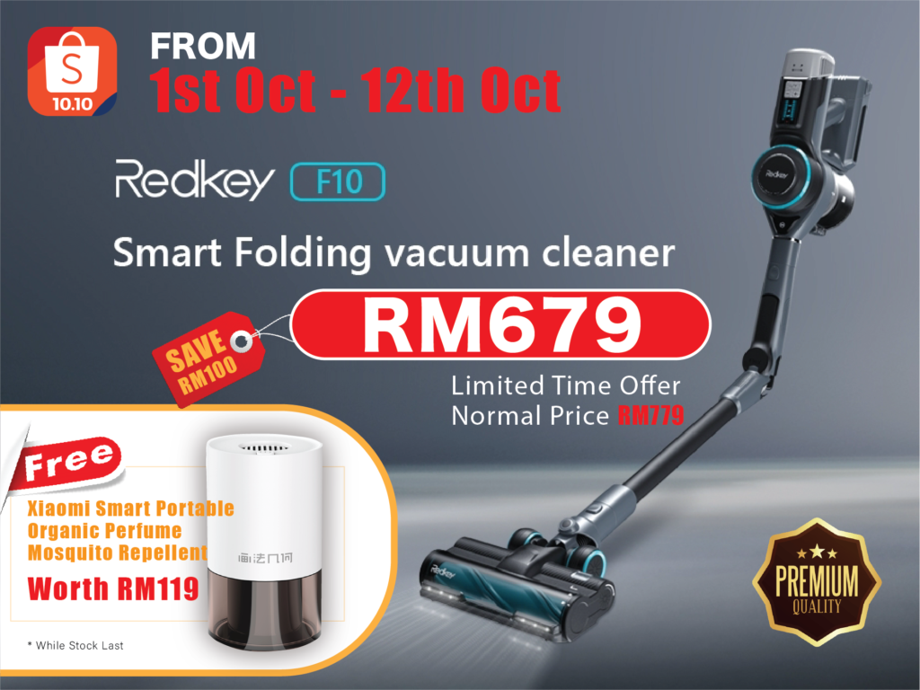 Dapatkan pembersih vakum lipat tanpa wayar Redkey F10 pada harga promosi RM 679 sahaja di Shopee 6